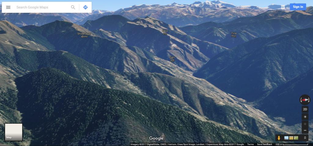 Mountains via google maps
