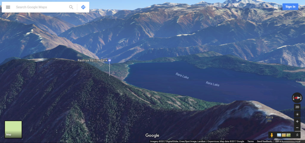 Another angle of the mountain with a lake via google maps