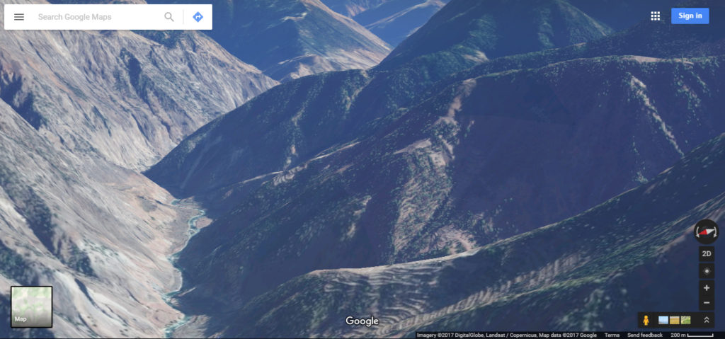 A picture of a Valley taken via google maps