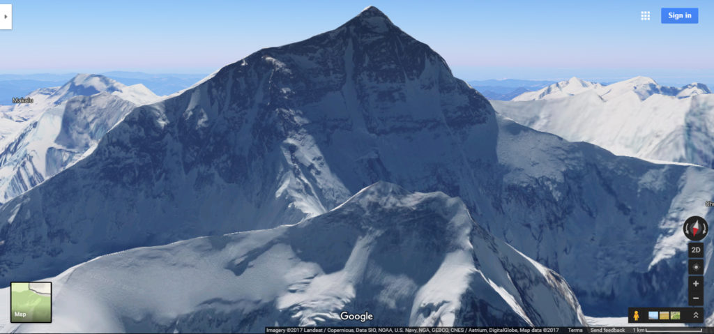 Mount Everest taken via Google Maps 3D View