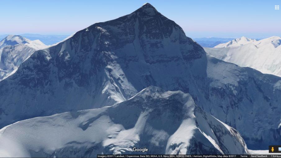 Mount Everest taken via Google Maps 3D View