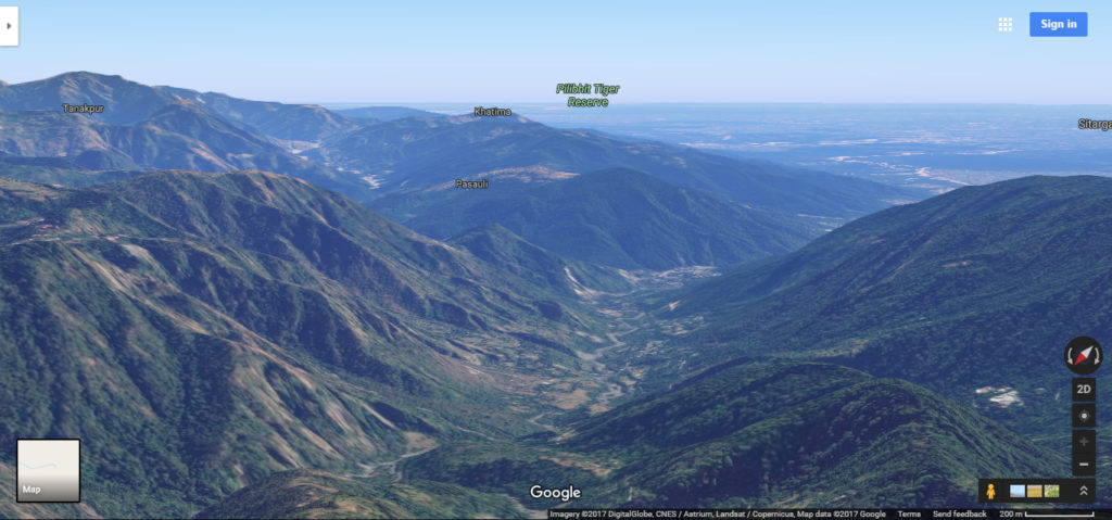 Picture of Landscape from Nainital, taken via google maps in 3D to highlight terrain data.