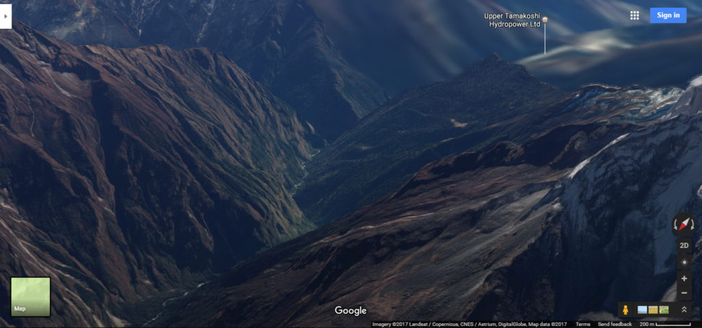 Mountains in Nepal via google maps