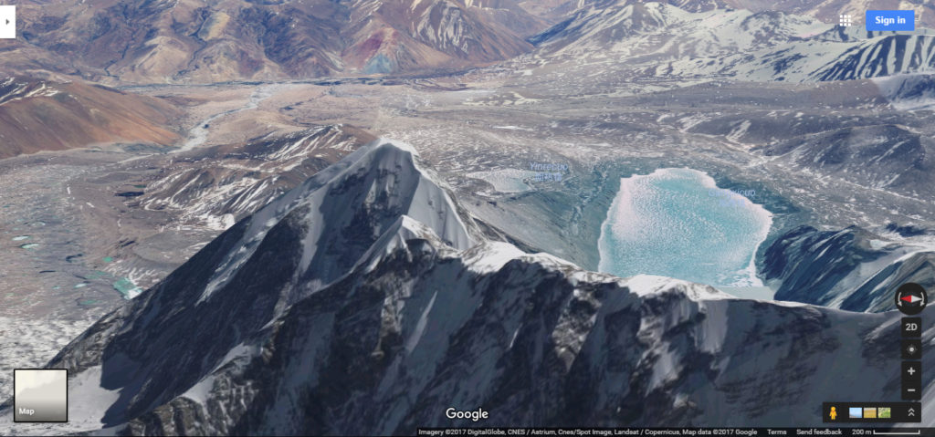 Mountain near a lake in Nepal via google maps